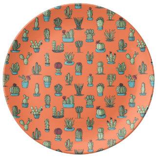 Louça Placa da porcelana do teste padrão do cacto
