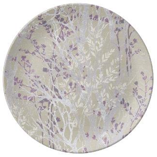 Louça Placa da porcelana/imagem Prata-Roxa do inverno