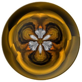 Louça Placa decorativa da porcelana da flor chique da
