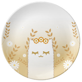 Louça Placa decorativa da porcelana do gato da flor