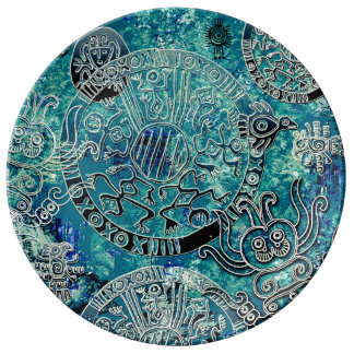 Louça Placa decorativa da porcelana dos azuis astecas
