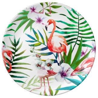 Louça Placa decorativa do hibiscus tropical do flamingo