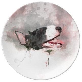 Louça Placa do deco da pintura da aguarela de bull