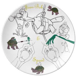 Louça Placa do esboço da porcelana de Jean-Bob&Speed
