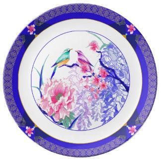 Louça Placa floral asiática