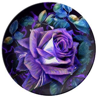 Louça Placa floral da porcelana do desenhista por oásis