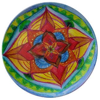 Louça Placa floral pintado mão verde vermelha da mandala