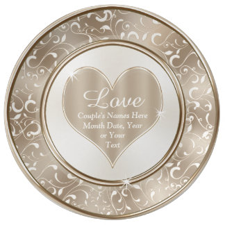 Louça Placas Wedding personalizadas, amor, nomes e data