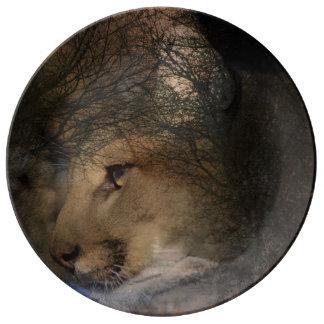 Louça Puma selvagem do leão de montanha da silhueta da