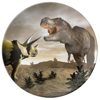 Louça Tiranossauro que ruje no triceratops - 3D rendem