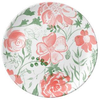 Louça Tons do pastel do rosa das flores da aguarela
