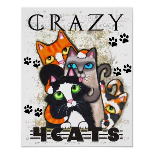 Louco para o impressão da arte dos gatos