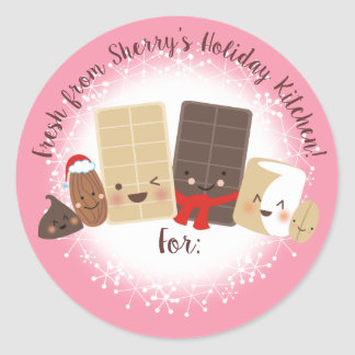 Loucos do chocolate que cozem a etiqueta do Natal