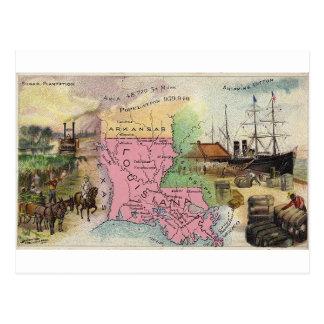 Louisiana, cartão 1889 do vintage