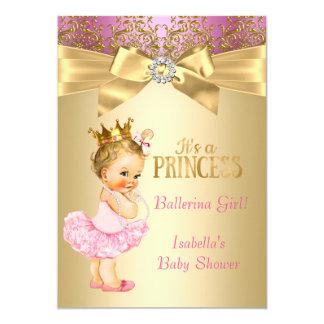 Louro da bailarina do ouro do rosa da princesa chá convite 12.7 x 17.78cm