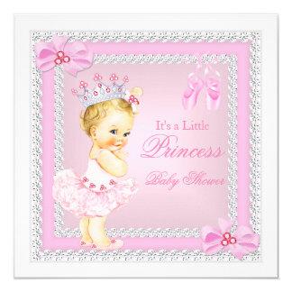 Louro da bailarina do rosa da menina da princesa convite quadrado 13.35 x 13.35cm