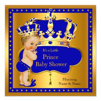 Louro da coroa do menino de azuis marinhos do convite quadrado 13.35 x 13.35cm