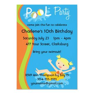 Louro da festa na piscina convite personalizados