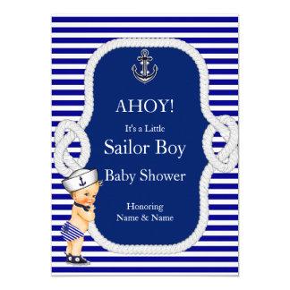 Louro da listra azul de menino de marinheiro do convite 12.7 x 17.78cm