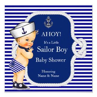 Louro da listra azul de menino de marinheiro do convite quadrado 13.35 x 13.35cm