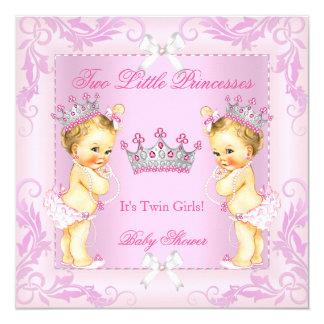 Louro da tiara do chá de fraldas da princesa convite quadrado 13.35 x 13.35cm