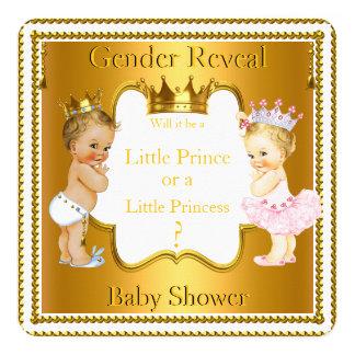Louro do chá de fraldas do príncipe princesa convite quadrado 13.35 x 13.35cm