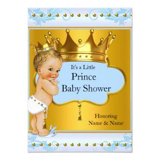 Louro do príncipe Menino Azul Ouro Coroa do chá de Convite 11.30 X 15.87cm