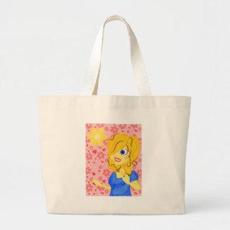 Louro feminino com flores e corações bolsa para compra
