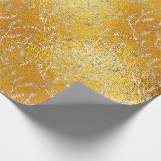 Louro floral das folhas do limão de vidro amarelo papel de presente