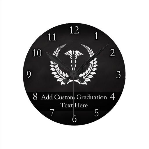 Louro médico do Caduceus Relógios De Pendurar