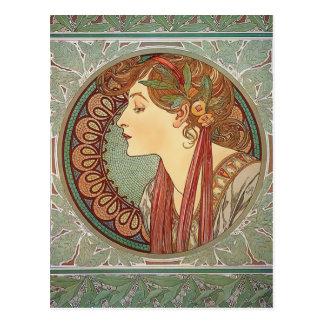 Louro pelo cartão do nouveau da arte de Alphonse