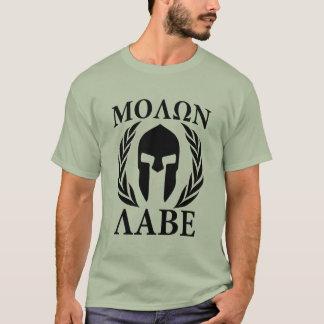Louros do guerreiro de Molon Labe no carbono preto Camiseta