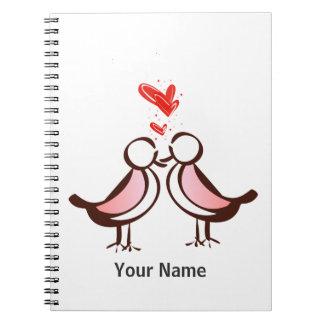 lovebirds bonitos doces cadernos