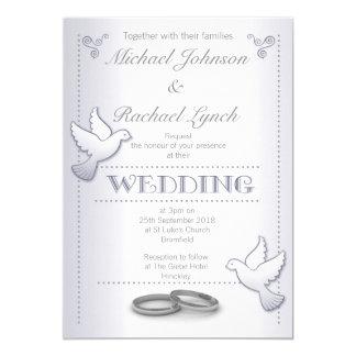 Cartão Lovebirds da prata do vintage do convite do