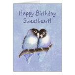 Lovebirds do azul do querido do feliz aniversario cartão