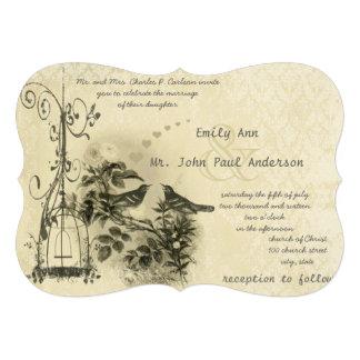 Lovebirds românticos rústicos do Birdcage do vinta Convite Personalizado