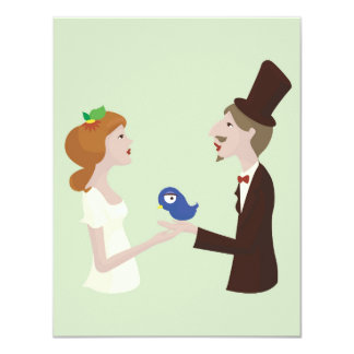 Lovers with blue bird, wedding card