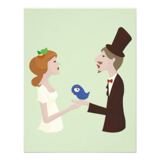 Lovers with blue bird wedding card