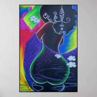 Lua africana - impressão do azulejo de Miami