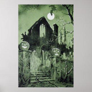 Lua assombrada do fantasma da lanterna de Jack O d Poster