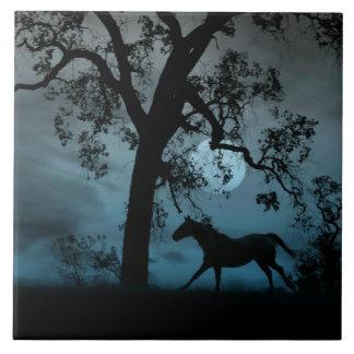 Lua azul, carvalho e azulejo Running da arte do