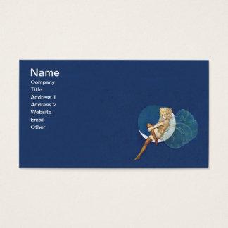 Lua azul das meias feericamente azuis bonito do cartão de visitas