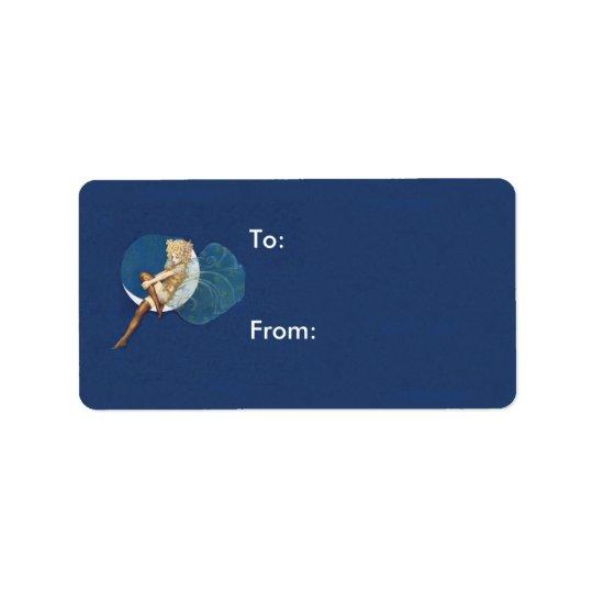 Lua azul das meias feericamente azuis bonito do etiqueta de endereço