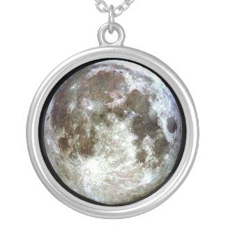 Lua cheia colar banhado a prata