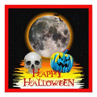 Lua cheia, crânio e abóbora azul na noite convite quadrado 13.35 x 13.35cm