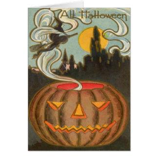 Lua cheia da bruxa da lanterna de Jack O da Cartão Comemorativo