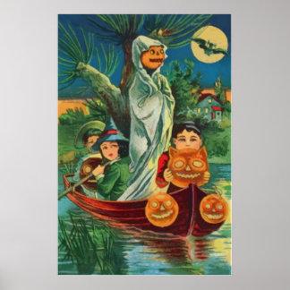 Lua cheia da coruja da lanterna de Jack O do fanta Poster