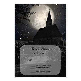 Lua cheia da igreja do país que Wedding cartões de Convites Personalizados