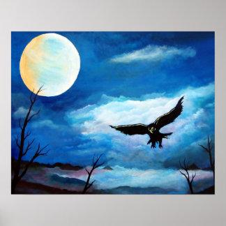 Lua da noite do falcão da caça pôster