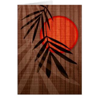 Lua de bambu vermelha - personalizada cartão comemorativo